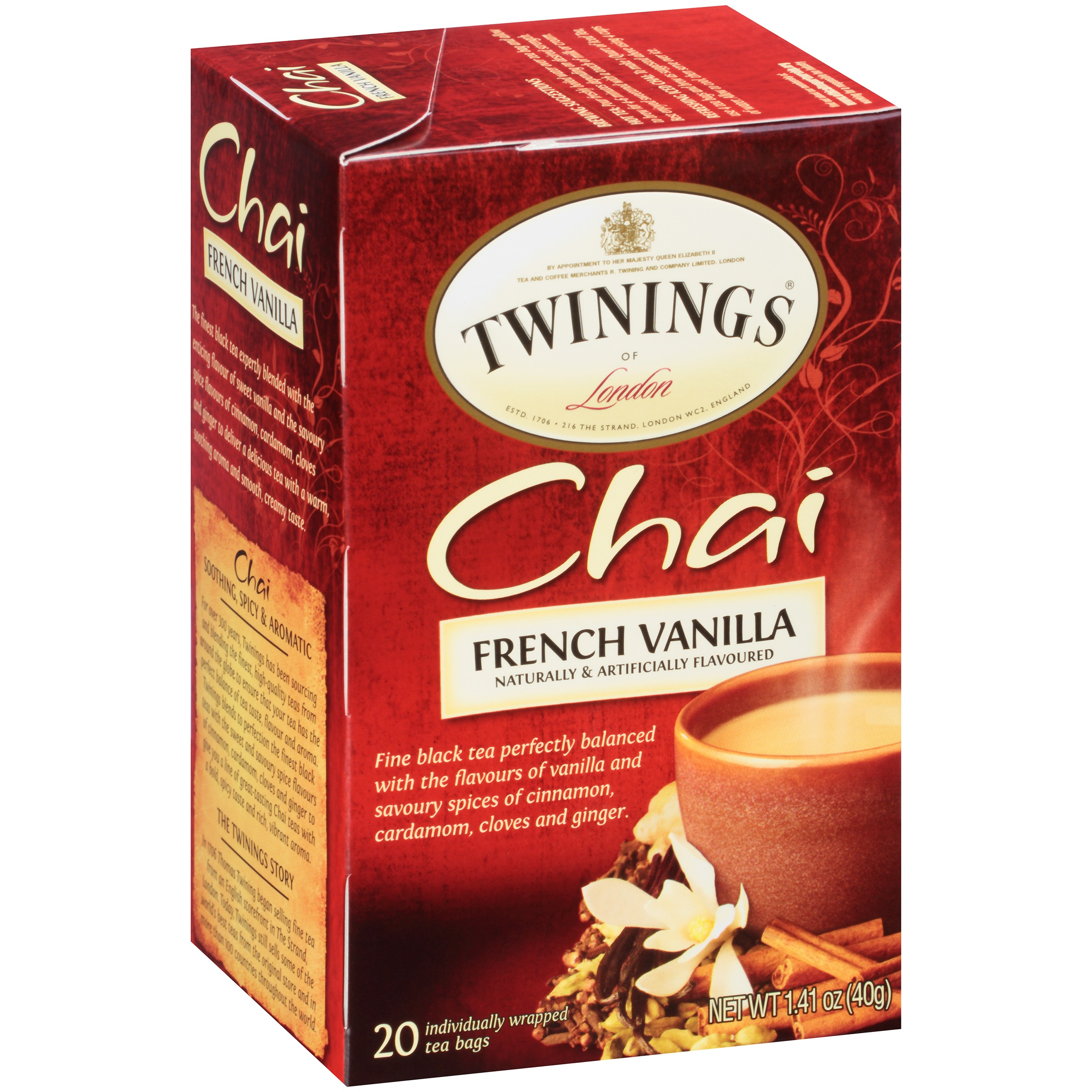Twinings of London® French Vanilla Chai 20 ct Tea Bags 1.41 oz. Box