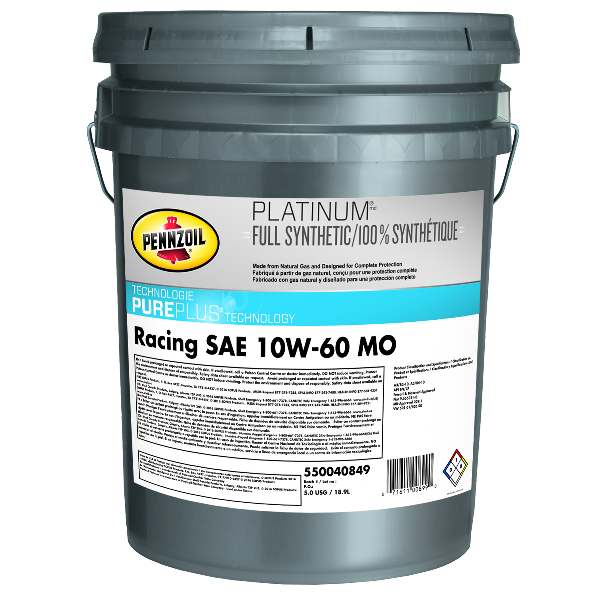 Pennzoil Platinum Racing Oil 10W-60 SN , 5 Gallon