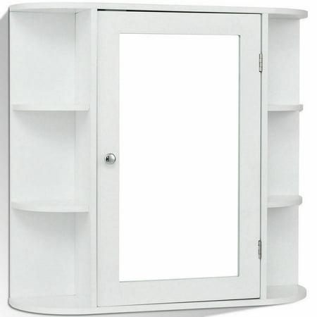Topbuy Wall Mount  Storage Cabinet Mirrored Doors Bathroom White Mini Cupboard ()