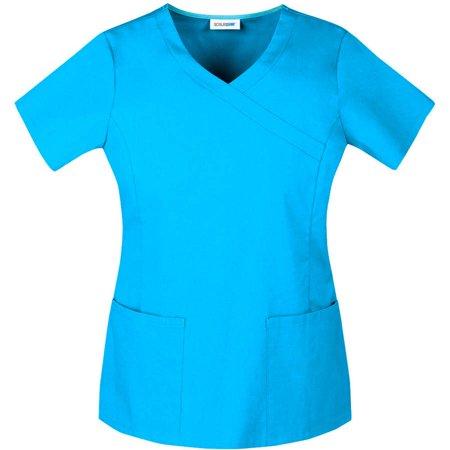 Scrubstar Womens Premium Collection Stretch Mock Wrap Scrub Top