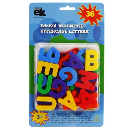 EduKid Toys 36 MAGNETIC UPPERCASE ALPHABET LETTERS (Blister Card) - Magnetic Toys For Toddlers