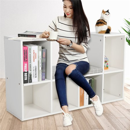 Dilwe Wooden Storage Bookcase with Reading Nook and Mat,Multi-functional Wood Organizer Bookcase Storage Shelf Bookshelf for Home Office Use ()