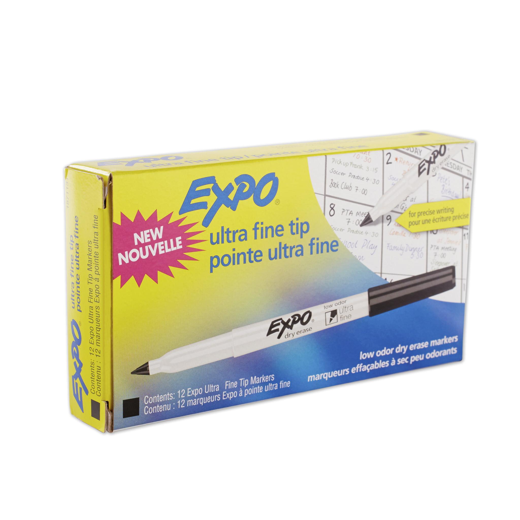 EXPO Low-Odor Dry-Erase Marker, Ultra Fine Point, Black, Dozen