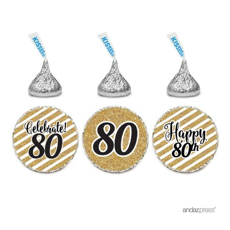 Milestone Chocolate Drop Labels Trio, Fits Hershey's Kisses Party Favors, 80th Birthday, 216-Pack, Not Real Glitter - 80th Birthday Party Favors