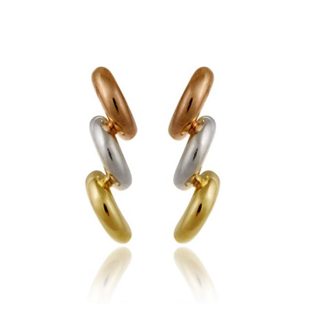 Tri Color Earrings (18K Gold over Sterling Silver Tri Color Three Half-Circle Earrings )