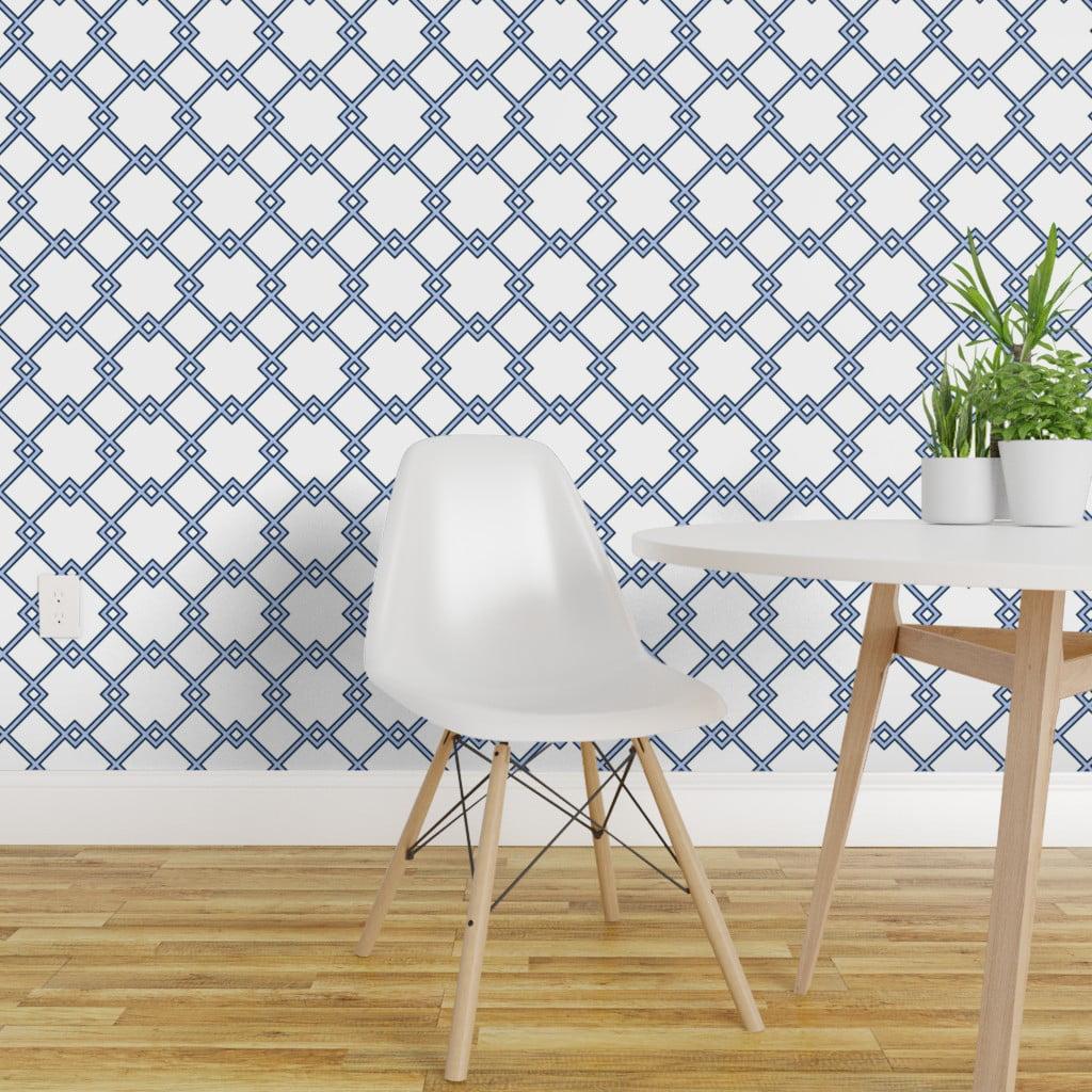 Peel-and-Stick Removable Wallpaper Lattice Decor Blue ...