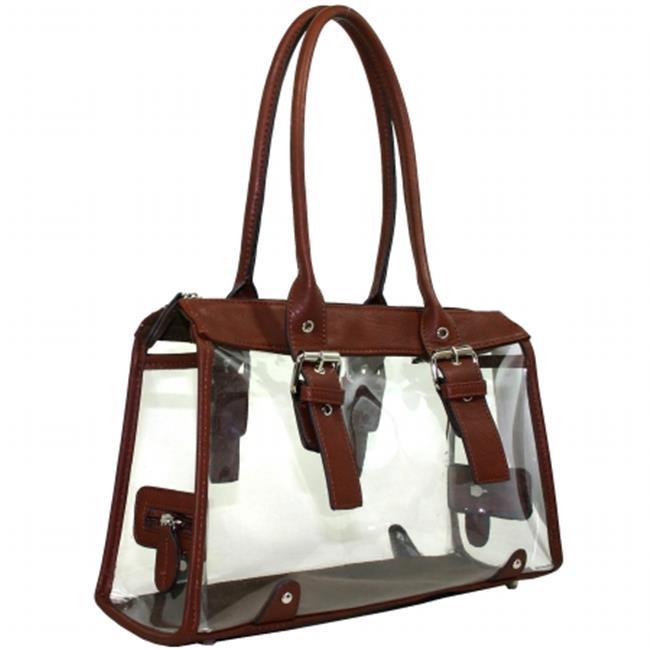 Ritz Enterprises C-007-BRN Womens Clear Transparent Purse Satchel Tote Beach Handbag, Brown
