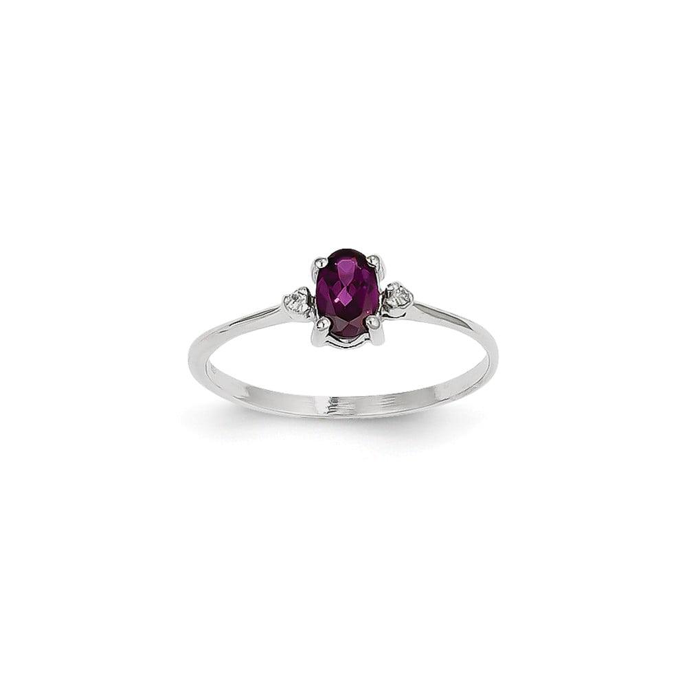 14k White Gold Diamond & 6x4 Oval Rhodolite Garnet Birthstone Ring
