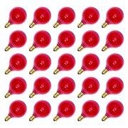 Sival 40128 - G40 Candelabra Screw Base Transparent Pink (25 pack) Christmas Light Bulbs