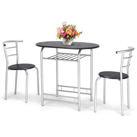 Costway 3 PCS Bistro Dining Set Table and 2 Chairs Kitchen Furniture Pub Home Restaurant ()