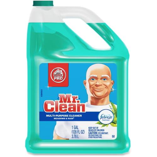 Mr. Clean Multipurpose Cleaner with Febreze - Gel - 1 gal (128 fl oz) - Meadows & Rain ScentBottle - 128 / Bottle - Green