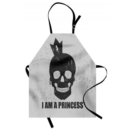I am a Princess Apron Skull with a Crown Skeleton Halloween Theme Grunge Look, Unisex Kitchen Bib Apron with Adjustable Neck for Cooking Baking Gardening, Charcoal Grey Pale Grey, by Ambesonne](Halloween Themed Cooking Ideas)