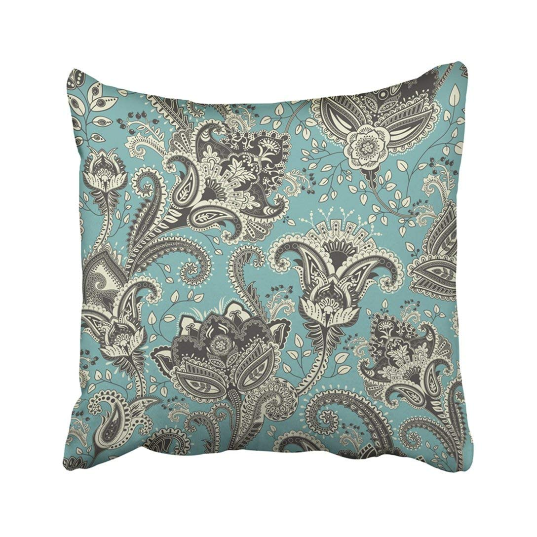 BPBOP Abstract Paisley Floral Flowers Ethnic Style Design For Fabrics Beautiful Blooming Pillowcase Cover 20x20 inch