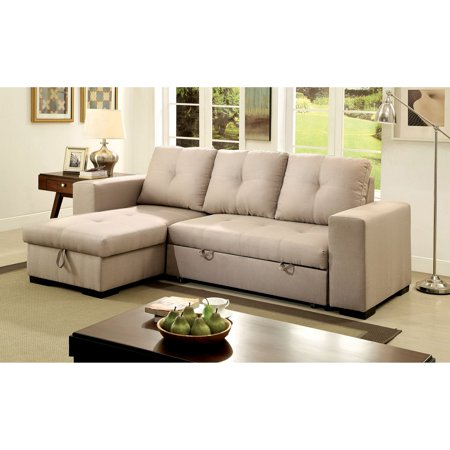 Furniture of America Rhea Sectional Sofa with Pull Out - Ivory Sectional