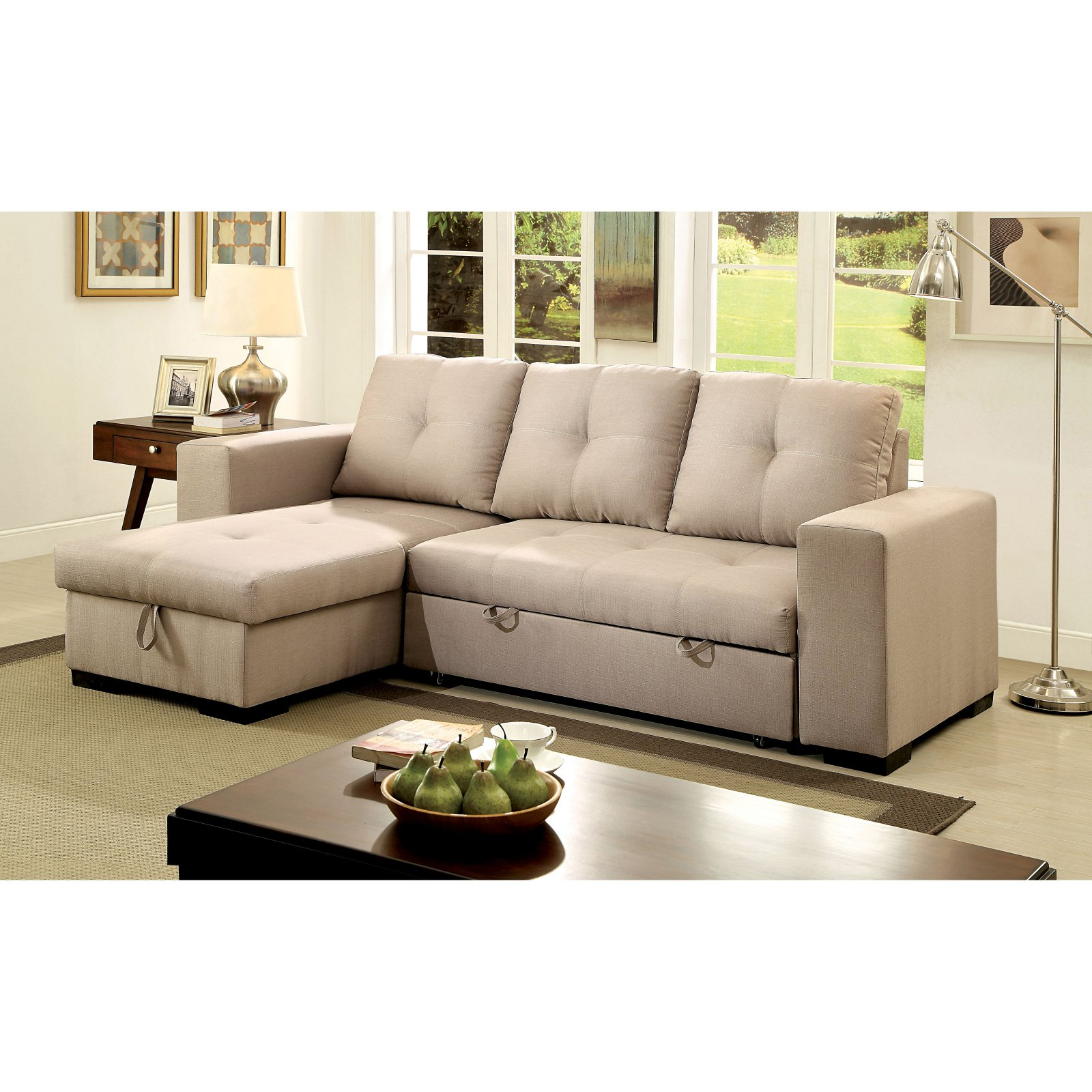Furniture of America Rhea Sectional Sofa with Pull Out Sleeper
