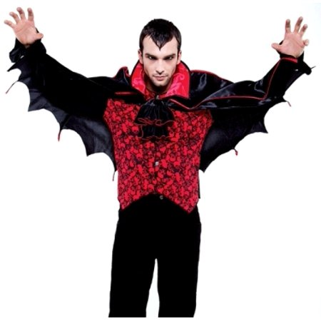 Dracula Goth Twilight Vampire Bat Halloween Costume  Adult XL (50-52 inch chest)