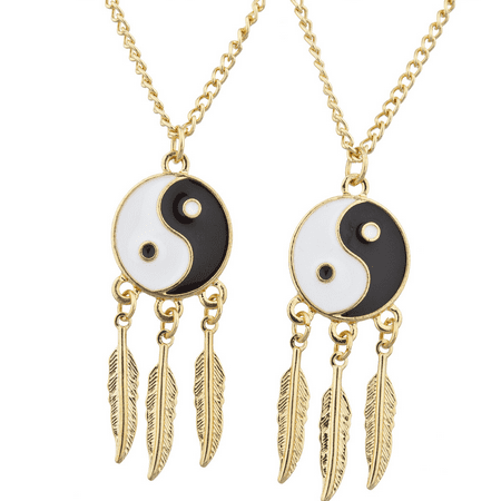 Lux Accessories Gold Tone Ying Yang Best Friends Forever BFF Necklace Set