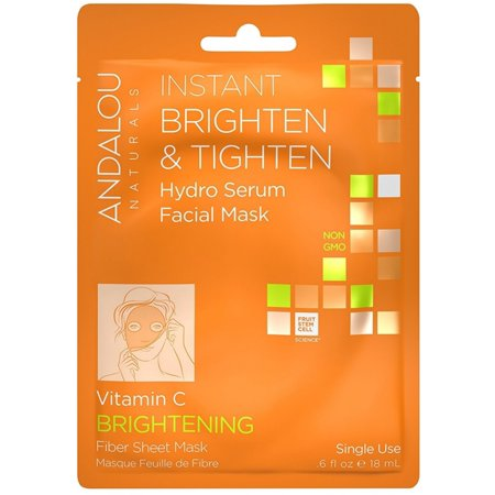 Instant Brightening (6 Pack - Andalou Naturals Instant Brighten & Tighten Hydro Serum Facial Mask .6 oz)
