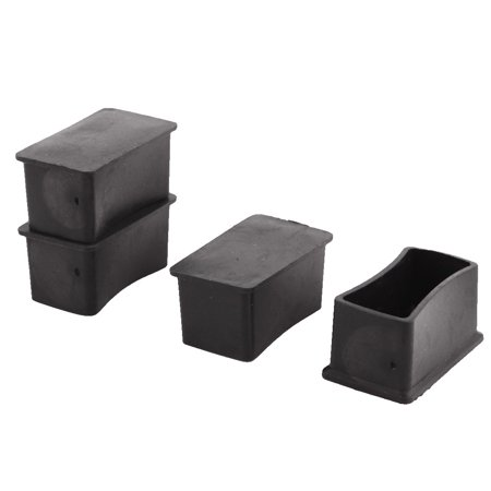 Unique Bargains 4 Pcs Antislip PVC Rectangle 50mm x 25mm Chair Foot Cover Table Furniture Leg Protector Black