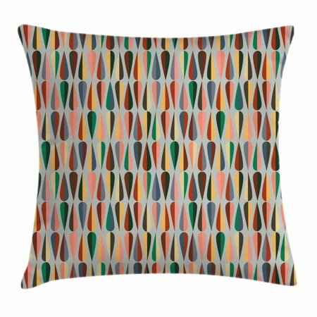 Decorative Prep Drop - Mid Century Throw Pillow Cushion Cover, Simple Two Colored Drop Shapes Grid Symmetrically Lined on Grey Background, Decorative Square Accent Pillow Case, 24 X 24 Inches, Multicolor, by Ambesonne