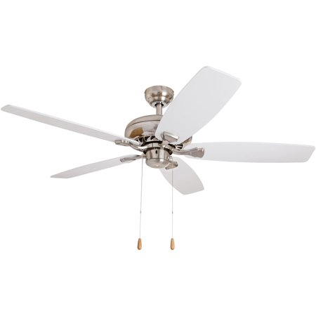 EcoSure  52-inch Narvi Brushed Nickel Fan with White/ Maple Reversible Blades Ceiling Fan - Maple Reversible Blades