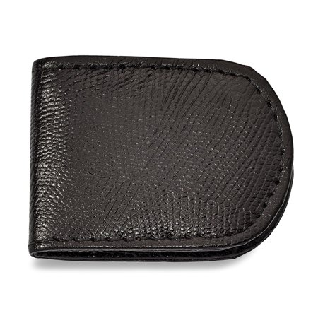 Solid Black Leather Lizard Grain Slim Business Credit Card Holder Money Clip 2.5