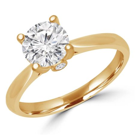 Majesty Diamonds MD190001-4.25 0.4 CTW Round Diamond Promise Solitaire with Accents Engagement Ring in 14K Yellow Gold - Size 4.25 - image 1 of 1