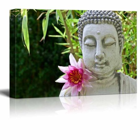 """wall26 Canvas Prints Wall Art - Buddhist Statue in Zen Garden 