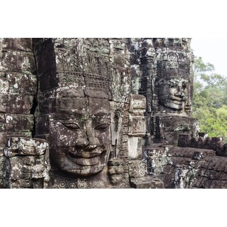 Buddha Face Carved in Stone at the Bayon Temple, Angkor Thom, Angkor, Cambodia Print Wall Art By Yadid Levy