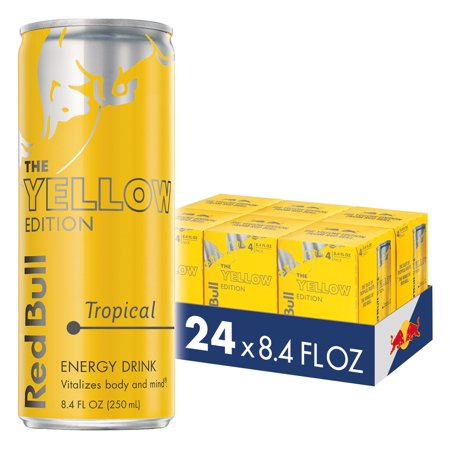 (24 Cans) Red Bull Energy Drink, Tropical, 8.4 Fl Oz, Yellow Edition (6 Packs of 4)