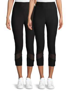 No Boundaries Juniors' High Rise Capri Legging w/ Mesh Detail, 2 Pack