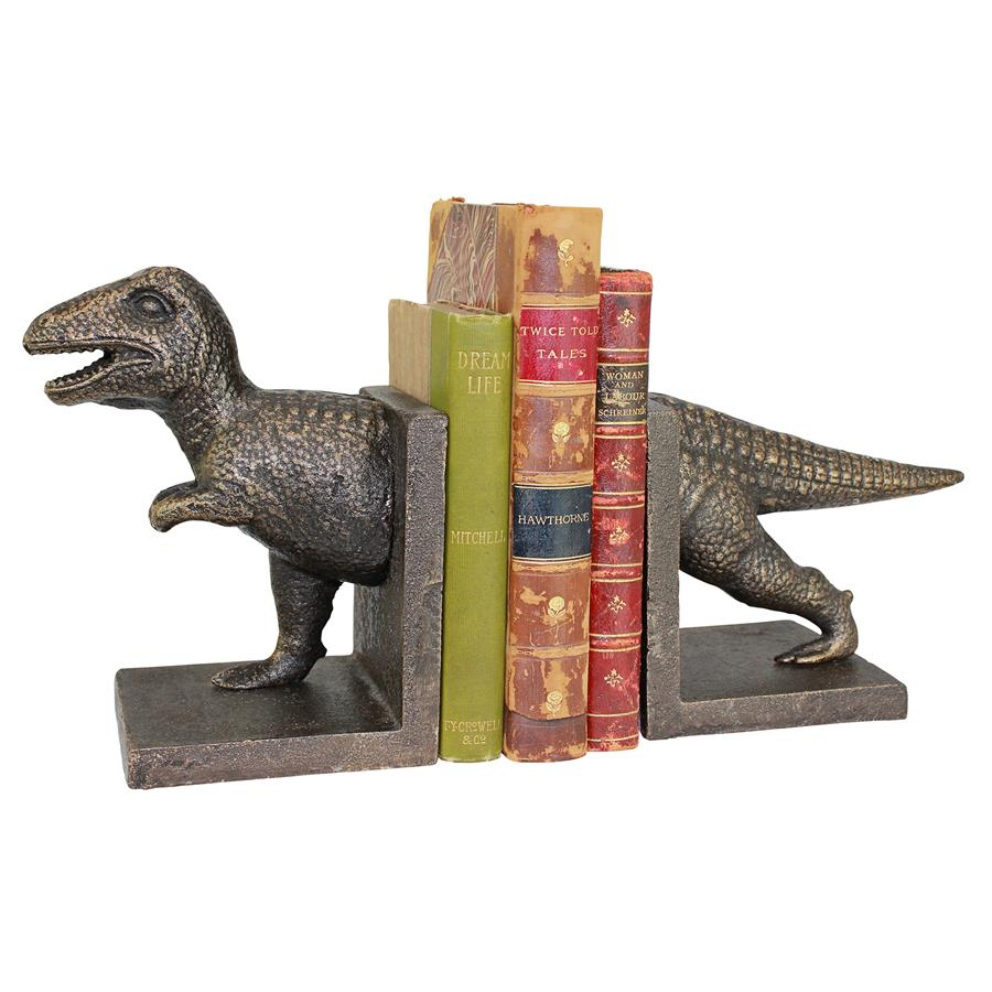 T-Rex Dinosaur Cast Iron Sculptural Bookend Pair
