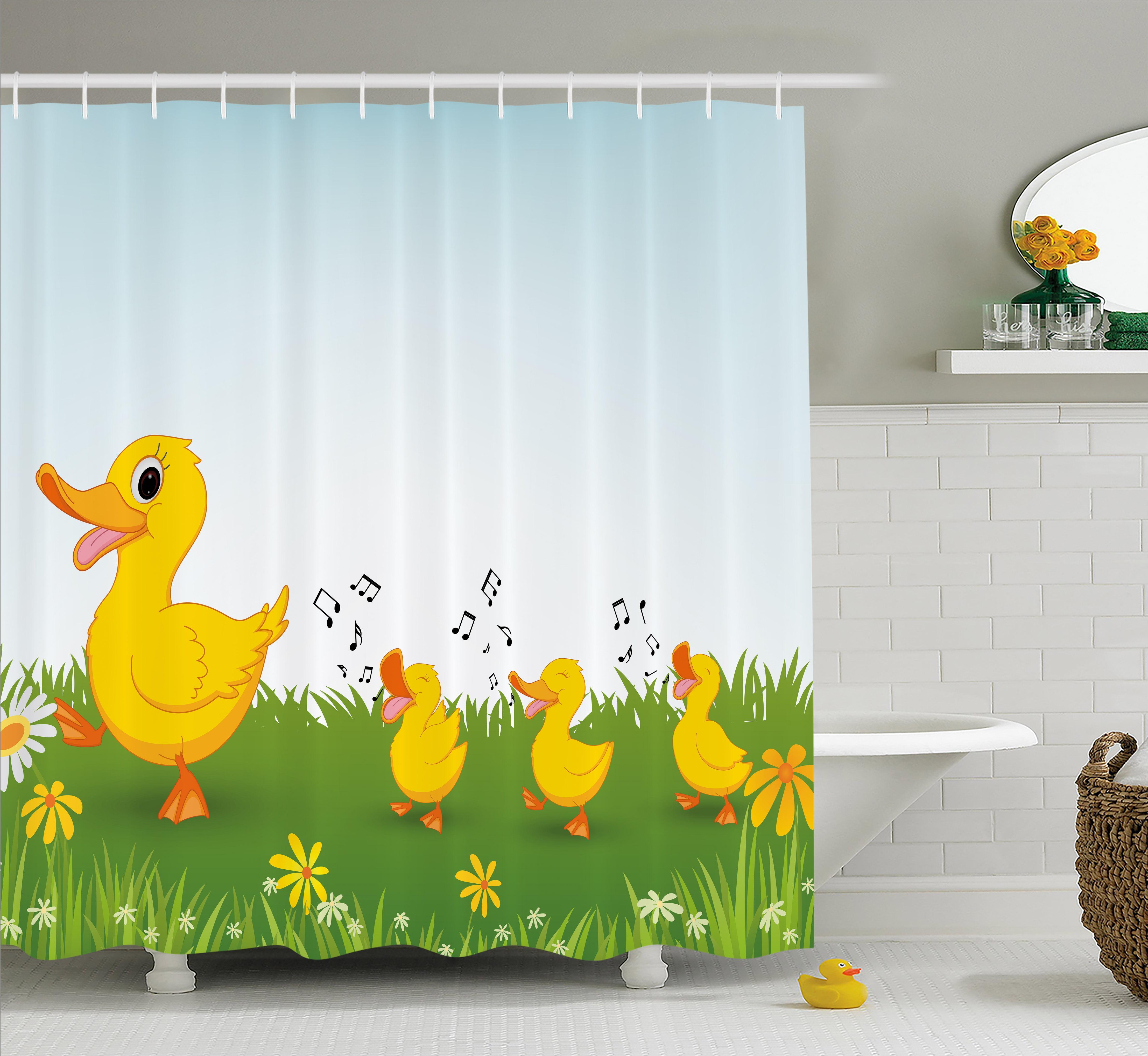 Cartoon Shower Curtain, Mother Duck and Babies Walking an...