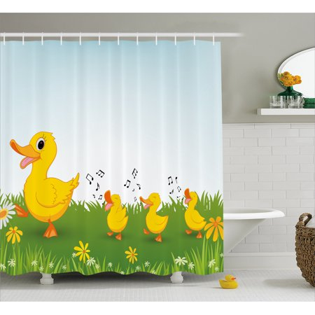 Cartoon Shower Curtain, Mother Duck and Babies Walking and Singing on the Meadow with Flowers, Fabric Bathroom Set with Hooks, Mustard and Pale Blue, by Ambesonne - Mom Shower