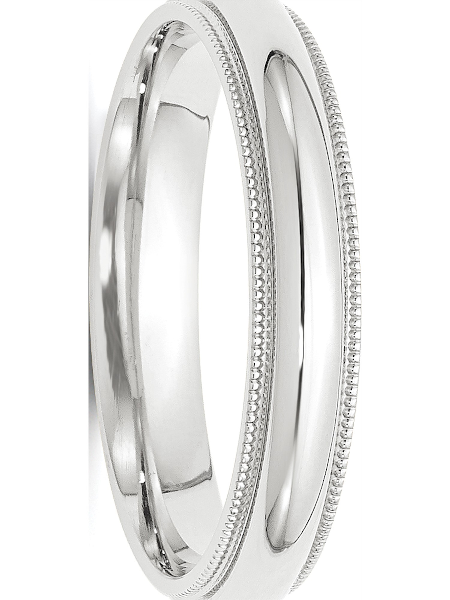 10k White Gold 4mm Milgrain Comfort Fit Band Fine Jewelry Ideal Gifts For Women