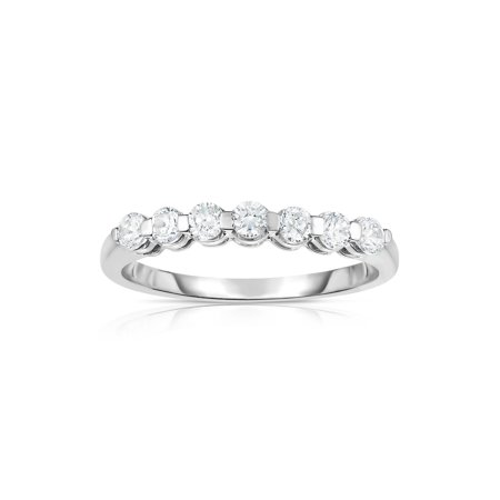 14K White Gold 7-Stone Single Prong Diamond (0.45 Ct, G-H Color, SI2 Clarity)