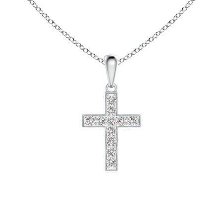 Dangling Cross Pendant - Valentine Jewelry gift - Dangling Diamond Cross Pendant in 14K White Gold (1.7mm Diamond) - SP0796D-WG-IJI1I2-1.7