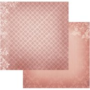 "Vintage Rose Garden Double-sided Paper 12""x12""-diamonds In Burgundy - Case Pack Of 5"