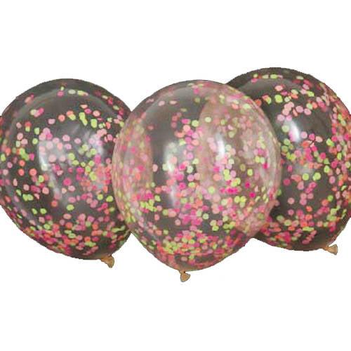 Latex Confetti Balloons, 12 in, Neon, 6ct
