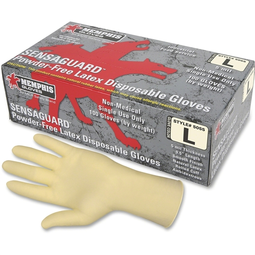 MCR Safety 5055L SensaGuard Industrial Grade Latex Double Chlorinated Powder Free Disposable Gloves, Natural, Large