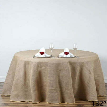 """BalsaCircle Natural Brown 132"""" Burlap Round Tablecloth - Country Chic Wedding Party Dining Room Home Table Linens"""