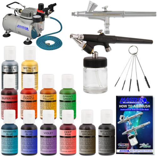 2 AIRBRUSH CAKE DECORATING KIT Compressor 12 Color Chefmaster Food Coloring Set
