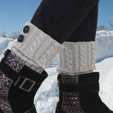 Yosoo Short Boot Cuffs Knit Leg Warmer Winter Crochet Socks Button Toppers ,Leg Warmers, Knit Leg Warmers