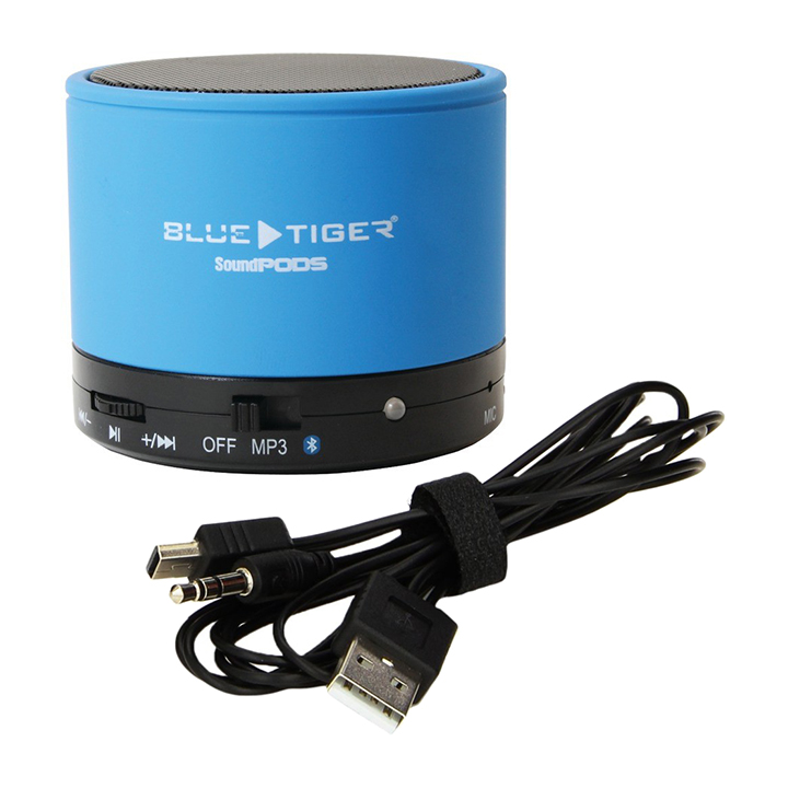 Blue Tiger SoundPods Speaker System - 3 W RMS - Portable - Battery Rechargeable - Wireless Speaker[s] - Blue (17-080589)