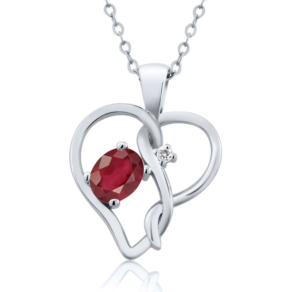 0.66 Ct Oval African Red Ruby White Sapphire 14K White Gold Pendant