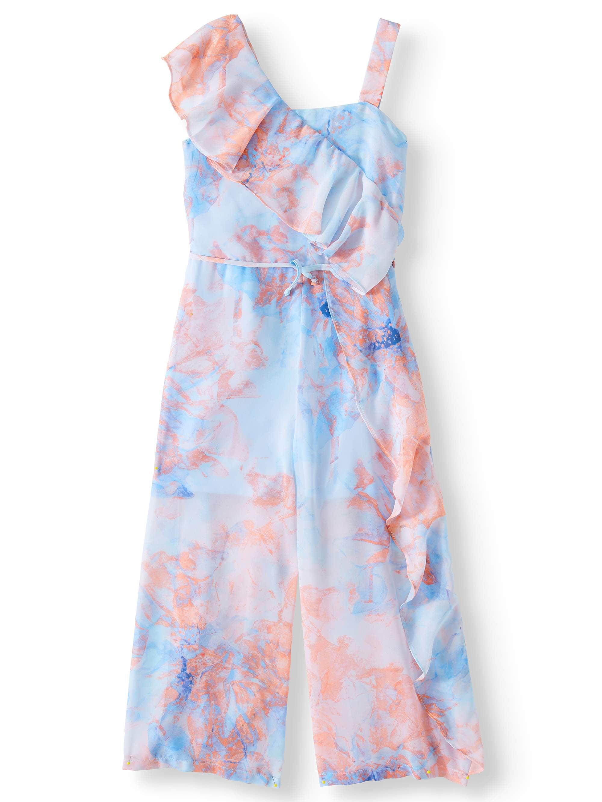 Watercolor Floral Ruffle Shoulder Jumpsuit (Big Girls)
