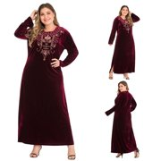 〖Follure〗Plus Size Plus Size Women Print O-Neck Long Sleeve Appliques Velvet Loose Dress