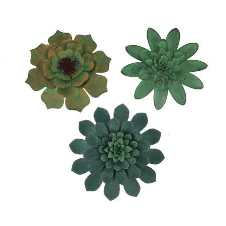 Verdigris Patina Metal Art Tropical Succulent Wall Sculptures Set of 3