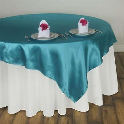 """60"""" SATIN Square Overlay For Wedding Catering Party Table Decorations TURQUOISE"""