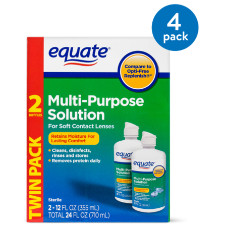 (4 Pack) Equate Sterile Multi-Purpose Contact Solution , 12 Oz, 2 Pk (Vampire Contact Lenses)